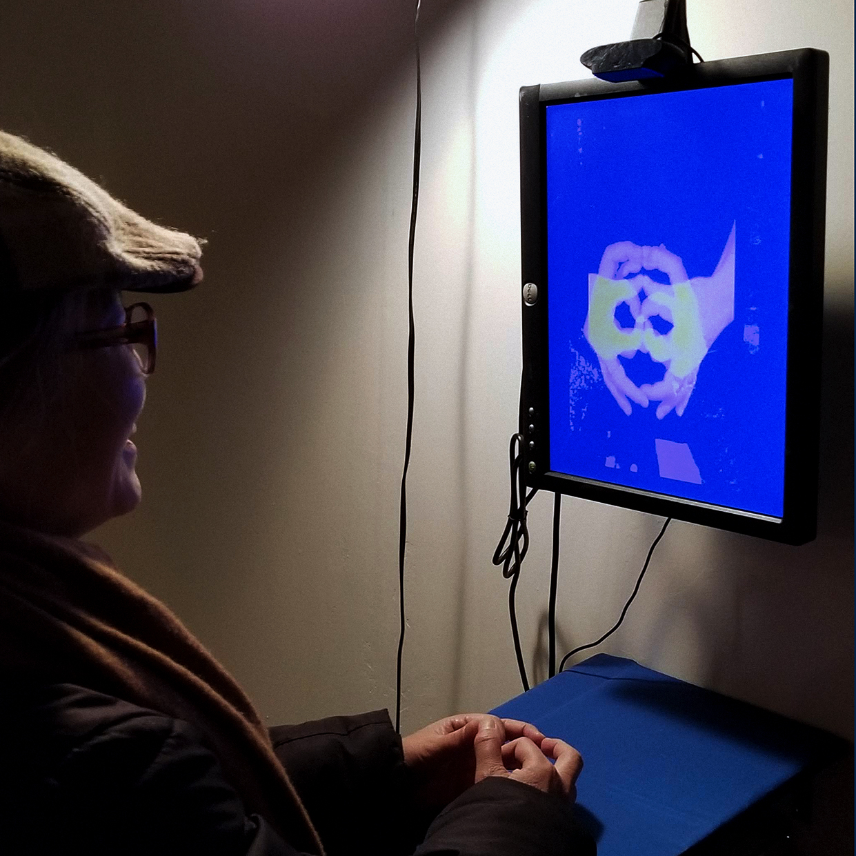 A viewer interacts with the installation, causing her hands to display an image of a shadow puppet on the screen.